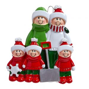 Snow Shovel Family of 5 Personalized Christmas Ornament - Blank