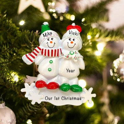 Personalized Snow Sled Couple Christmas Ornament