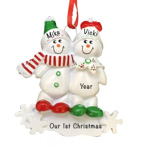 Snowmen Sled Couple Personalized Christmas Ornament