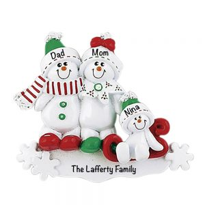 Snowman Sled Family of 3 Personalized Christmas Ornament