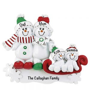 Snowman Sled Family of 4 Personalized Christmas Ornament