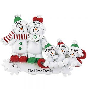 Snowman Sled Family of 5 Personalized Christmas Ornament