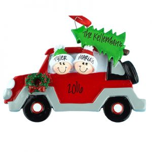 Car with Tree Family of 2 Personalized Ornament