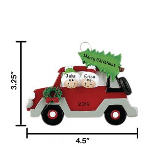 Car with Tree Couple Personalized Christmas Ornament