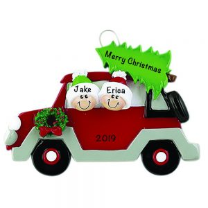 Christmas Tree Car Family of 2 Personalized Christmas Ornament