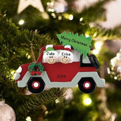 Personalized Car with Tree On Top Family of 2 Christmas Ornament