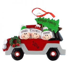 Car with Tree Family of 3 Personalized Ornament