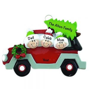 Christmas Tree Car Family of 3 Personalized Christmas Ornament
