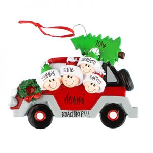 Car with Tree Family of 4 Personalized Ornament