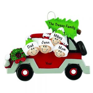 Christmas Tree Car Family of 4 Personalized Christmas Ornament