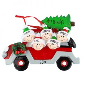 Car with Tree Family of 5 Personalized Ornament
