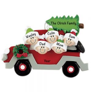 Christmas Tree Car Family of 5 Personalized Christmas Ornament