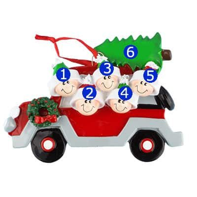 Car with Tree On Top Family of 5