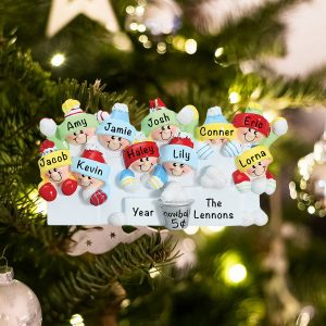 Personalized Snowball Fight Family of 10 Christmas Ornament