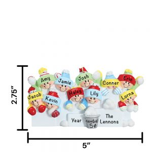 Snowball Fight Family of 10 Personalized Christmas Ornament