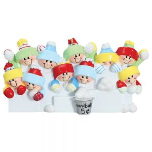 Snowball Fight Family of 10 Personalized Christmas Ornament - Blank