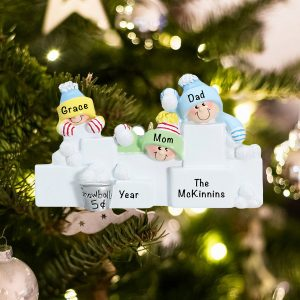 Personalized Snowball Fight Family of 3 Christmas Ornament