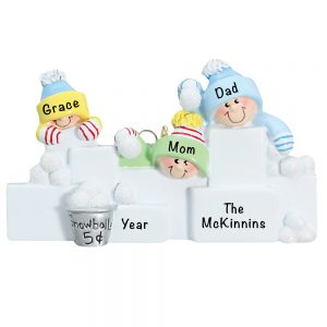 Snowball Fight Family of 3 Personalized Christmas Ornament