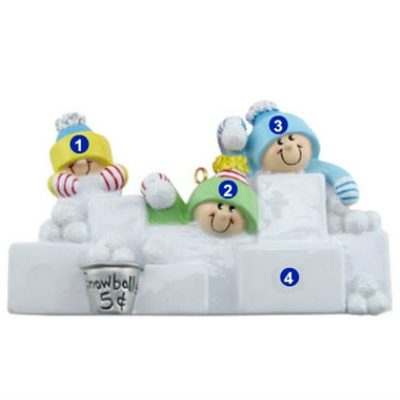 Snowball Fight Family of 3 Personalized Ornament