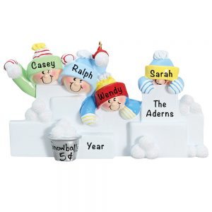 Snowball Fight Family of 4 Personalized Christmas Ornament
