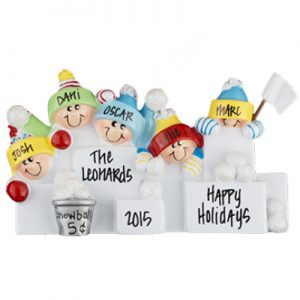 Snowball Fight Family of 5 Personalized Ornament