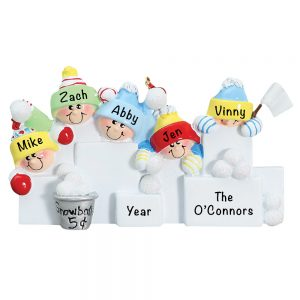 Snowball Fight Family of 5 Personalized Christmas Ornament