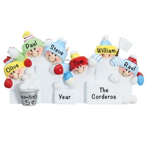 Snowball Fight Family of 6 Personalized Christmas Ornament