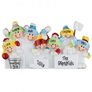 Snowball Fight Family of 7 Personalized Ornament
