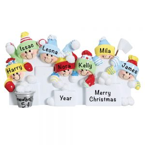 Snowball Fight Family of 7 Personalized Christmas Ornament