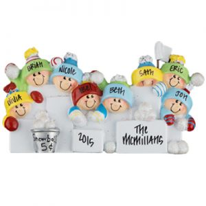 Snowball Fight Family of 8 Personalized Ornament