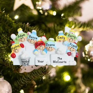 Personalized Snowball Fight Family of 8 Christmas Ornament