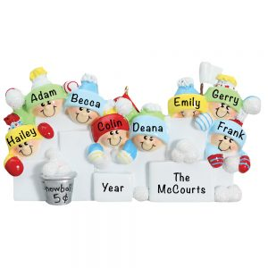 Snowball Fight Family of 8 Personalized Christmas Ornament