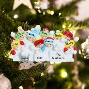 Personalized Snowball Fight Family of 9 Christmas Ornament
