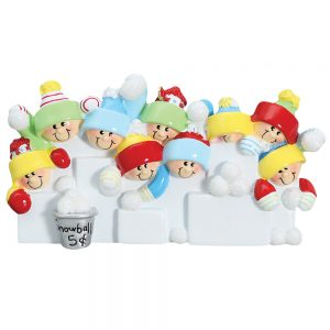 Snowball Fight Family of 9 Personalized Christmas Ornament - Blank