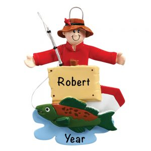 Fisherman Red Shirt Personalized Christmas Ornament