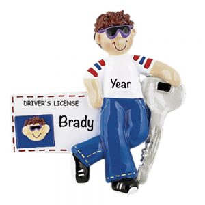 New Driver License Boy Brown Hair Personalized Christmas Ornament