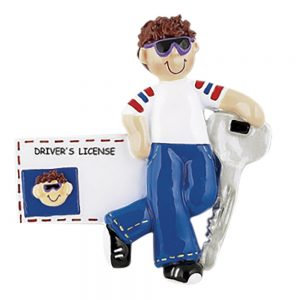 New Driver License Boy Brown Hair Personalized Christmas Ornament - Blank
