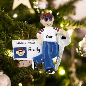 Personalized New Drivers License Boy Brown Hair Christmas Ornament