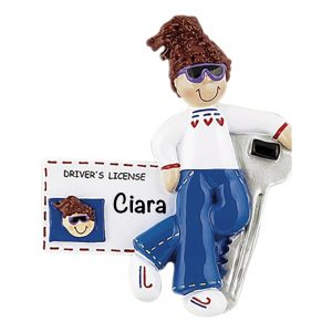 New Driver License Girl Brown Hair Personalized Christmas Ornament