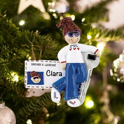 Personalized New Driver License Girl Brown Christmas Ornament