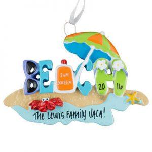 Beach Bum Personalized Ornament