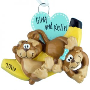 Monkey Couple Personalized Ornament