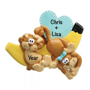 Monkeys and Bananas Couple Personalized Christmas Ornament