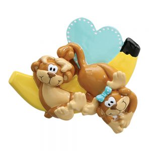 Monkeys and Bananas Couple Personalized Christmas Ornament - Blank