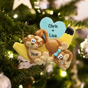 Personalized Monkeys and Bananas Couple Christmas Ornament