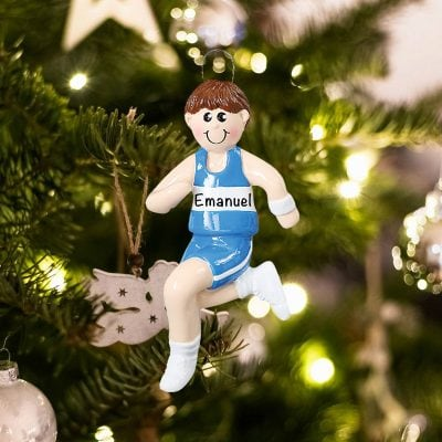Personalized Track Runner Boy Christmas Ornament