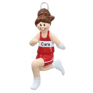 Girl Track Runner Personalized Christmas Ornament