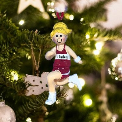 Personalized Girl Track Blonde Christmas Ornament