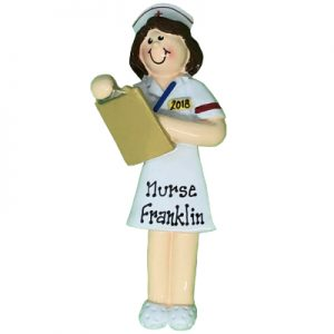 Nurse - Brown Hair Personalized Ornament