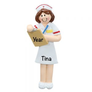 Nurse with brown hair Personalized Christmas Ornament